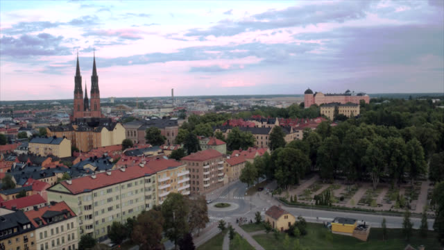 Uppsala city from above video
