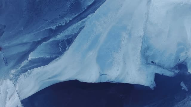 Upside-Down aerial view on frozen lake at height 300m video