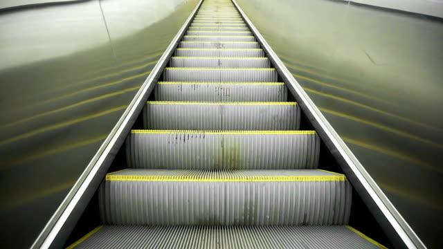 Upward movement standing on an empty escalator video
