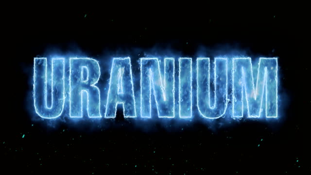 Uranium Word Hot Burning on Realistic Fire Flames Sparks And Smoke continuous seamlessly loop Animation