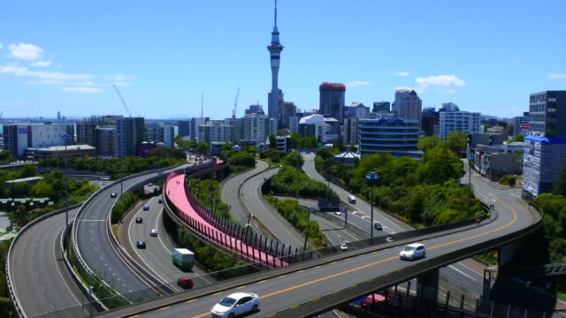 Urban aerial landscape view of traffic on Auckland city motorway video