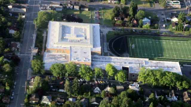Urban Area High School and Field Overhead View video