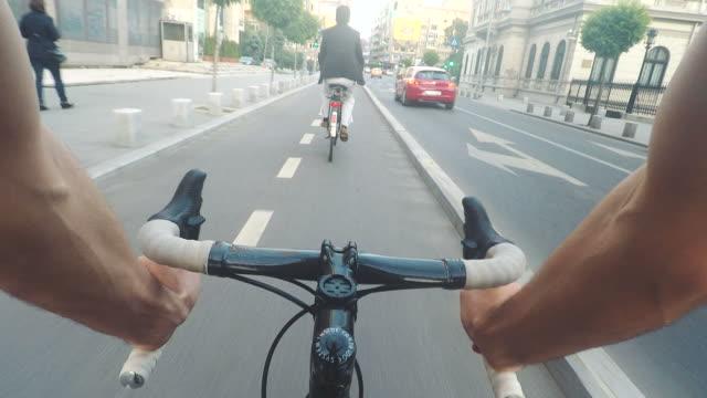 POV urban bicycle ride. video