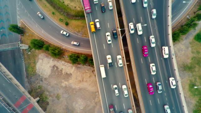 Urban city traffic aerial Highway video