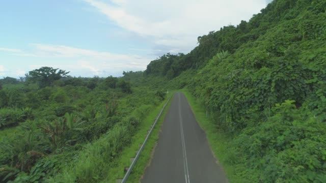 AERIAL: Urban concrete trail winding through lush green tropical rainforest. video