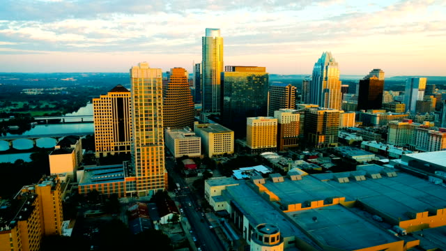 Urban Downtown Austin Texas perfect sunrise golden hour morning golden colors across Skyline Cityscape