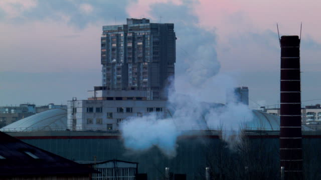 urban landscape with smoke video