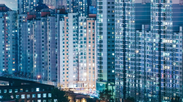 T/L MS LR PAN Urban Residential Area at Night / Beijing, China video