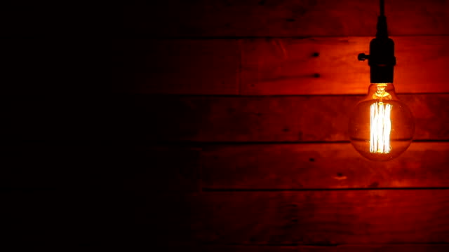 urban retro hanging lights wood background - stile del xix secolo video stock e b–roll