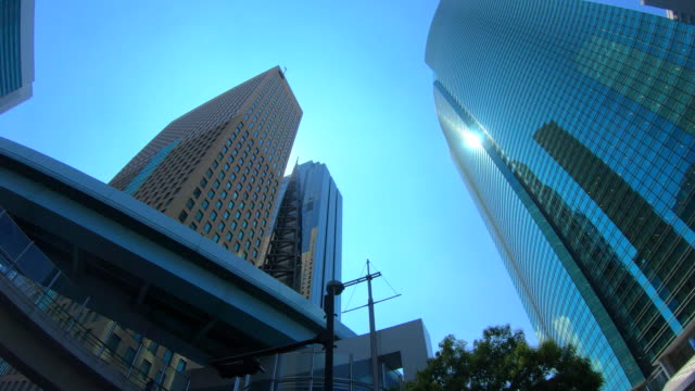 urban skyscraper from below - quartiere generale video stock e b–roll