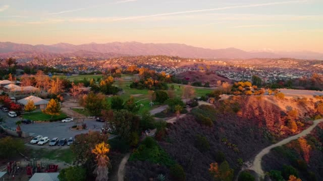 Urban Sprawl. The remote aerial view of the residential districts around Los Angeles from the Elysian Park at sunset.