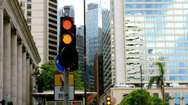 Luz de tráfico urbanita - vídeo