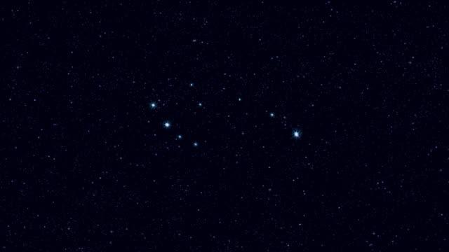 vídeos y material grabado en eventos de stock de constelación de ursa menor, ampliando gradualmente la imagen giratoria con estrellas y contornos - estrella del norte