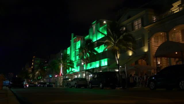 Usa famous nigh light miami south beach ocean drive hotel  illumination 4k video