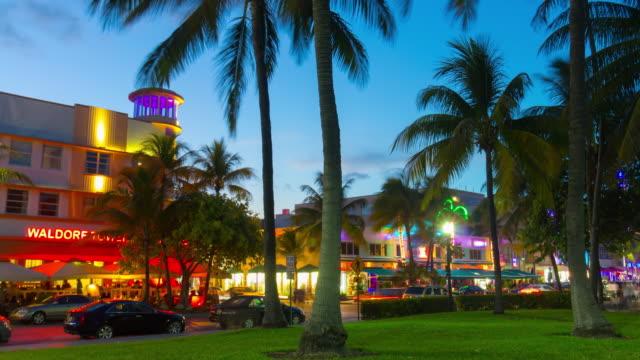 Usa famous night light miami south beach ocean drive park view 4k time lapse video