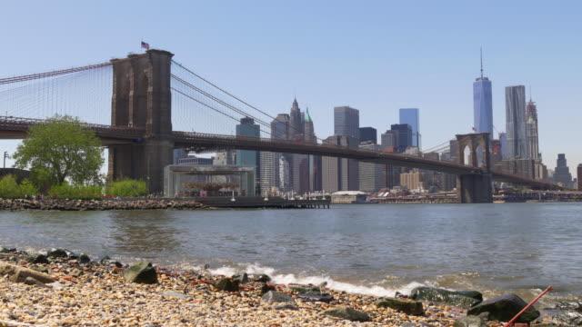 Usa Famous Summer Time Brooklyn Bridge Park New York Panorama 4k