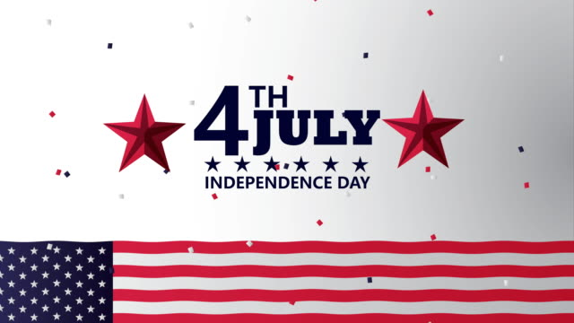 Bидео usa independence day celebration with flag and lettering