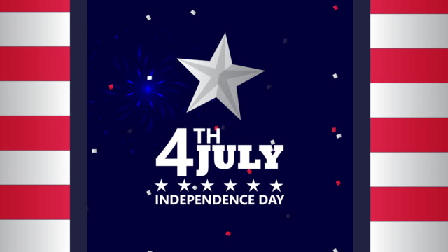 usa independence day celebration with flag and lettering - luglio video stock e b–roll