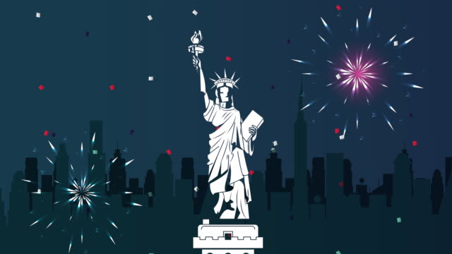usa independence day celebration with liberty statue and fireworks - luglio video stock e b–roll