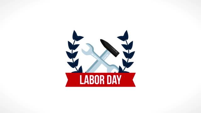 vídeos y material grabado en eventos de stock de usa animación de celebración del día del trabajo - día del trabajo