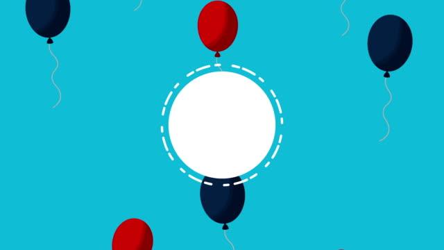 vídeos y material grabado en eventos de stock de celebración del día del trabajo de ee.uu. con globos iconos de conjunto de helio - día del trabajo
