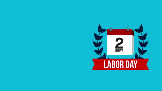 usa labor day celebration with calendar and set icons video