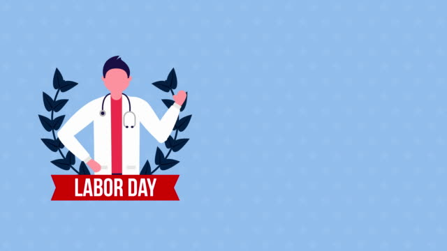 usa labor day celebration with doctor character video