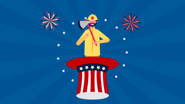 usa labor day celebration with firefighter character - labor day stock videos and b-roll footage