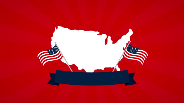 usa labor day celebration with map - labor day stock videos and b-roll footage