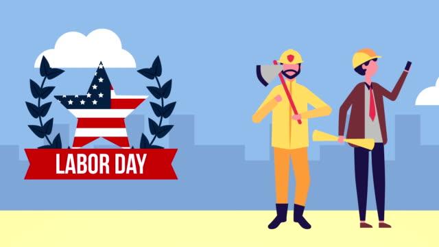 vídeos y material grabado en eventos de stock de celebración del día del trabajo con los personajes de los trabajadores - día del trabajo