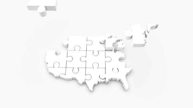 usa map puzzle 4k - puzzle video stock e b–roll