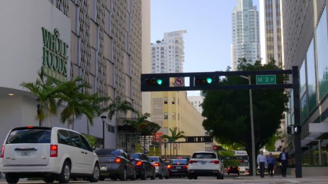 Usa miami city summer day street traffic 4k florida video