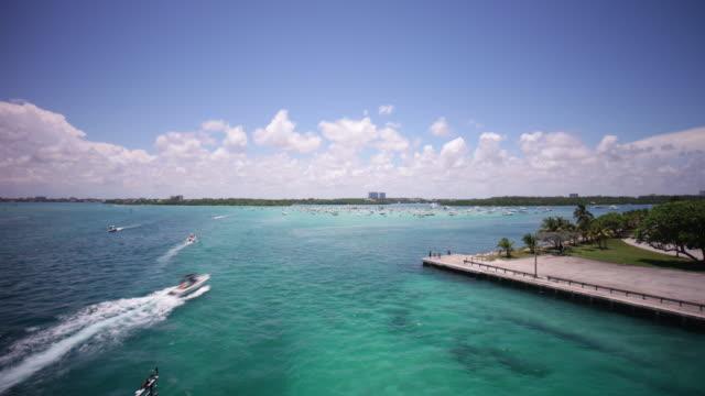 usa miami gulf pass summer day haulover yacht park panorama 4k time lapse florida video