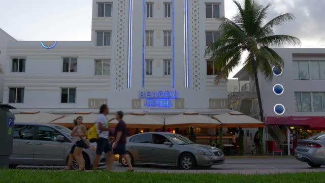 Usa miami south beach sunset ocean drive hotel view 4k florida video