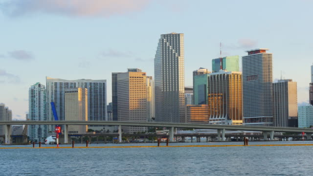 Usa miami summer sunset downtown famous buildings 4k video