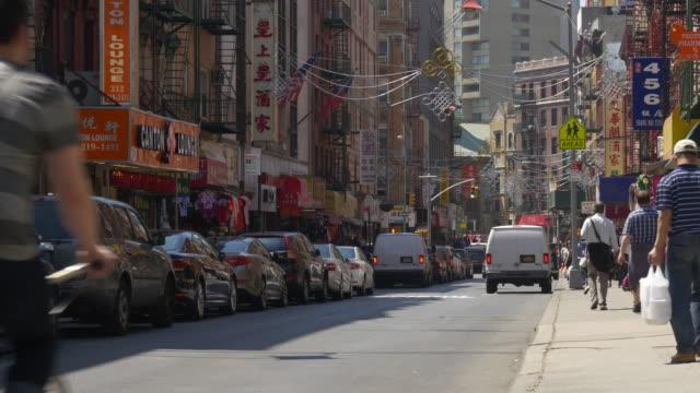 usa new york city manhattan famous china town block street view 4k video