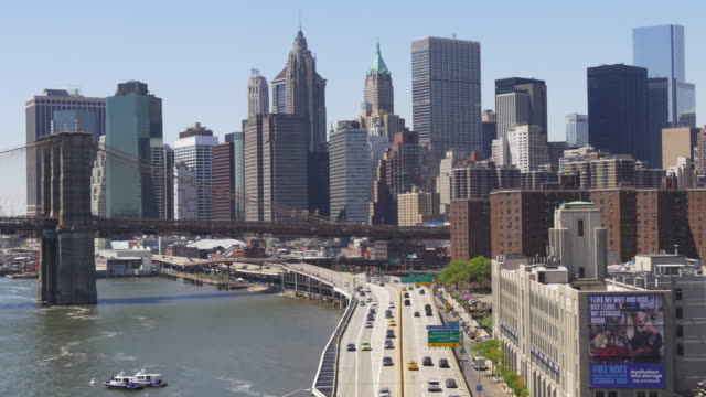 usa new york downtown manhattan bridge bay panorama 4k video
