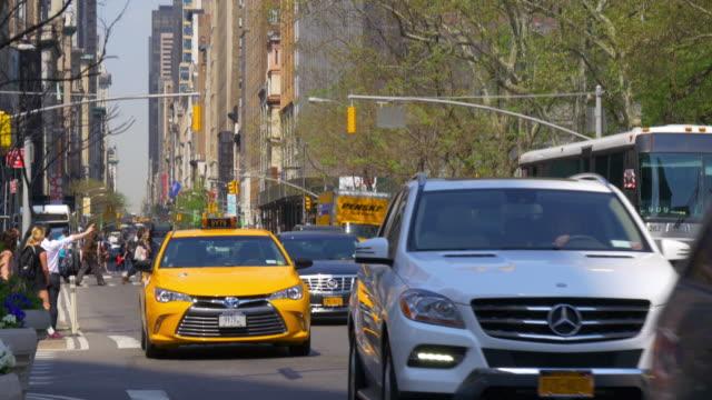 Usa new york summer day manhattan street life walking crossroad 4k video