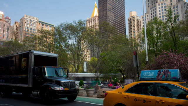 Usa summer day new york manhattan broadway traffic park view 4k time lapse video