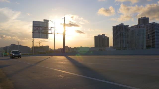 Usa summer sunset sky light miami bridge traffic 4k florida video