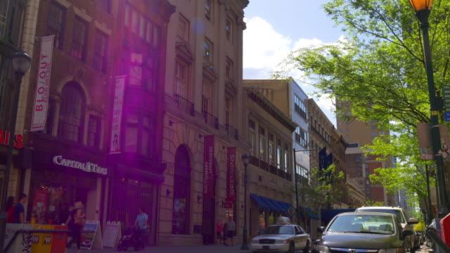 Usa sun light day time philadelphia city street life 4k pennsylvania video