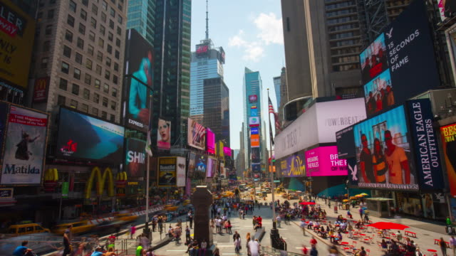 Usa sun light manhattan times square famous top view 4k time lapse new york video