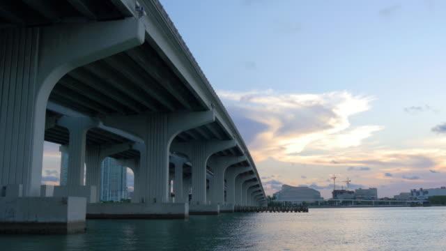 Usa sunset miami downtown under the bridge airport district 4k video