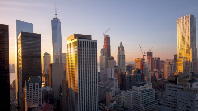 Usa sunset new york manhattan roof top freedom tower reflection 4k time lapse video