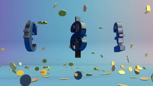 usdollar, euro and english pound rotating, falling coins - pound sterling isolated bildbanksvideor och videomaterial från bakom kulisserna