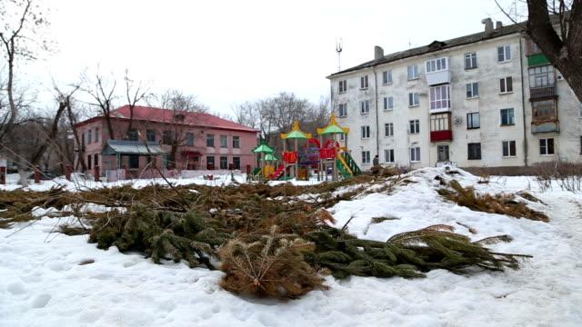 Weihnachtsbäume Daunendecke werden Sie sich in der Stadt – Video