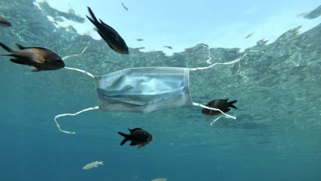 используемая медицинская маска для лица, загрязняющая океан - загрязнение окружающей среды стоковые видео и кадры b-roll