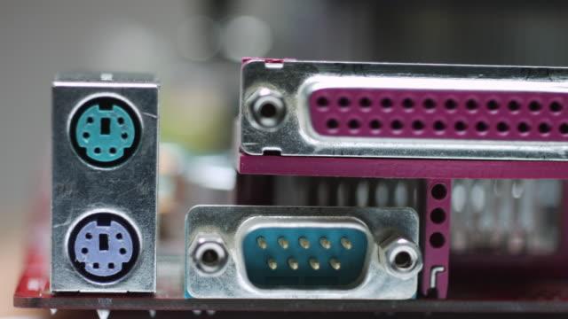 vídeos y material grabado en eventos de stock de panel io trasero de la placa base usada - placa madre