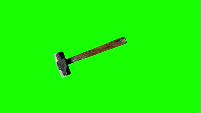 Used vintage hammer tool animation on green screen, chroma key for editors video