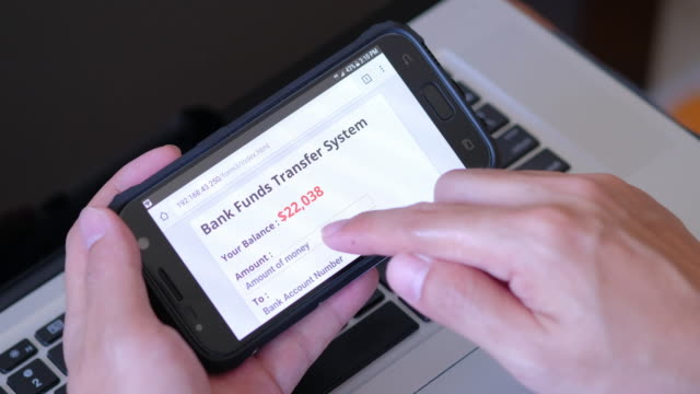 using bank funds transfer system on smart phone - online banking video stock e b–roll
